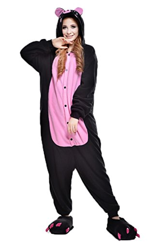 URVIP Jumpsuit Tier Cartoon Fasching Halloween Kostüm Sleepsuit Cosplay Fleece-Overall Pyjama Erwachsene Unisex Schlafanzug Tier Onesie mit Kapuze Schwarz Schwein Large