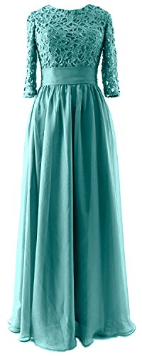 MACloth Vintage Half Sleeves Mother of Bride Dress Lace Formal Evening Gown Turquoise