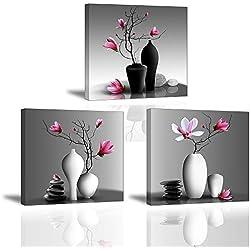3X Orchidée Impression sur Toile Tableau Elegant Arbre dans la Vase à Fleurs Piy Peinture Motif Modern Tableaux Home Déco Mural en Bois Prête à Poser Mur Art pour Chambre Hotel Salle Cadeau Noël