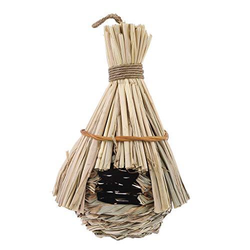 Buleerouy - Caseta para pájaros exteriores de nido de pájaro, de fibra de hierba natural