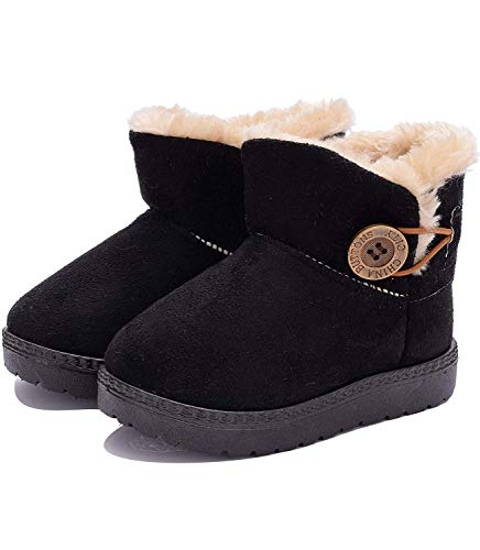 Kids Winter Chelsea Snow Boots Boys Short Plush Ankle Booties Slippers Girls Cosy Fur Lined Warm Thick Shoes Cold Weather Non-Slip Shoes Toddler