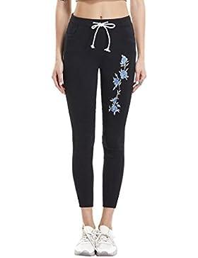 Pantalones Mujer,Vaqueros de talle bajo con inserción de encaje casual de flores de mujer Pantalones largos ahuecados...