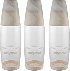 Nayasa Pet Bottle, 1 Litre, Set of 6, White