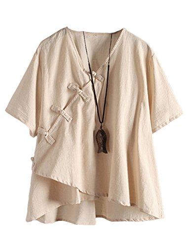 MatchLife Damen Leinen Tops Klassisches Vintage T-Shirt Chinesisch V-Ausschnitt Tunika Bluse Khaki Fits EU 46-52 (Fit Khaki)