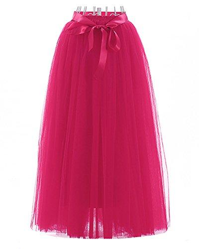 Facent adulti Tutu stratificati tulle Mini delle donne gonna di pizzo principessa Petticoat per il partito di Prom 100cm Fucsia