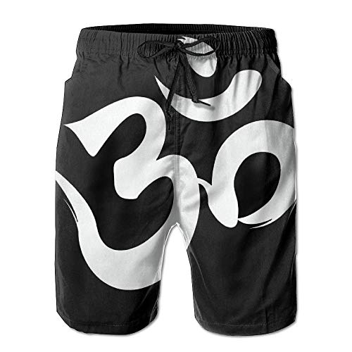 Abfind OM Symbol des Buddhismus Männer/Jungen lässig schnell trocknende Badeset elastische Taille Strandhose Tasche,L -