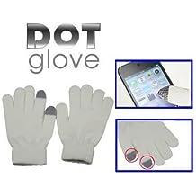 Gants tactiles pour smartphones tablettes blanc 2 doigts