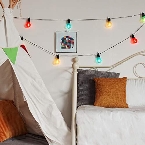 Guirlande Guinguette Lumineuse 5 mètres 10 Ampoules avec Filament LED Vintage Éclairage Blanc Chaud par Festive Lights (Multicolore)