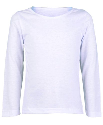 80dff61a2 New Girls Plain Long Sleeve Kids Top Children Crew Neck T-Shirt School  Summer T-Shirt Age 2-13 Year (11-12 Years, White) - Buy Online in Oman.