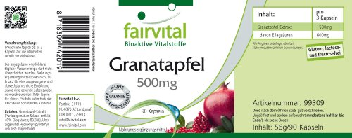Fairvital – Pomegranate 500mg – Pomegranate Extract Rich in Ellagic Acid – 90 Vegetarian Capsules