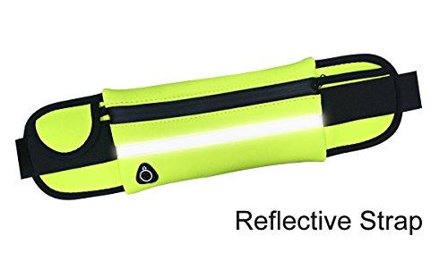 YKD Hüfttaschen Sport Running Gürteltasche mit Kopfhörer Slot & Reflective Strap & Kompartiment,Wasserdicht und Schweiß Neopren Material-Y16 Grün