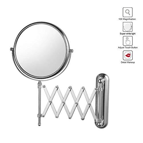 XNDCYX 8 Pulgadas Espejo De Aumento De Pared, Espejo Tocador Telescópico Espejo De Maquillaje 10X Aumento...