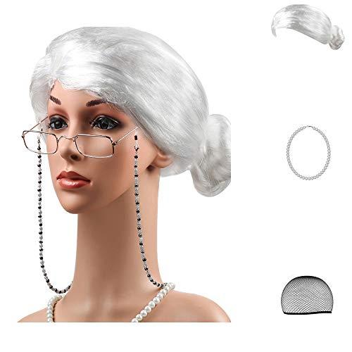 Beelittle Old Lady Kostüm Großmutter Cosplay Zubehör Set - Oma Perücke Perücke Kappe Brille Brillen Ketten Armband Perlenkette - 5 Stück (Mrs Claus Kostüm Zubehör)