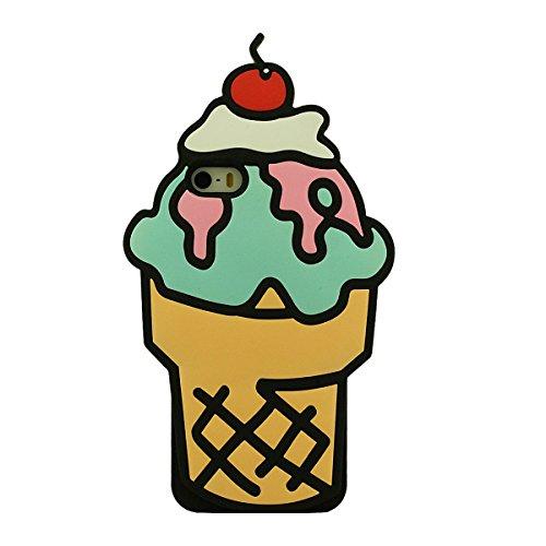 3D Bonbons Crème Glacée Apparence Doux Silicone Gel iPhone SE Coque protection Anti choc - Orange, Étui pour Apple iPhone 5 5S 5C + Silicone Titulaire Jaune
