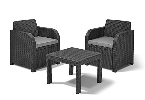 Keter Natural Rattan Look Open-weave Design Anthracite Allibert Atlanta Balcony Bistro Set with Cushions Included
