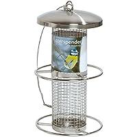 dobar 10041Comedero para pájaros con Rejilla de Acero Inoxidable, Comedero–Comedero para pájaros Salvajes aproximación Anillos, 14x 14x 26cm, Metal