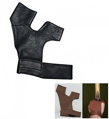 Bogenhandschuh traditionell Leder f. RH Schützen black.bulls schwarz (XXL)