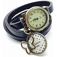montre en cuir bracelet 3 rangs cabochon bronze illustré vintage, nuage, pois