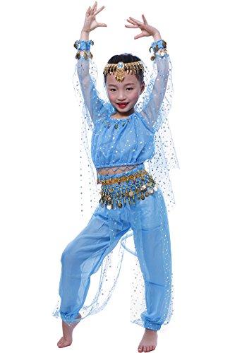 Astage Mädchen Kleid Bauchtanz-Set Tanz Kostüm Performance Set Himmelblau S