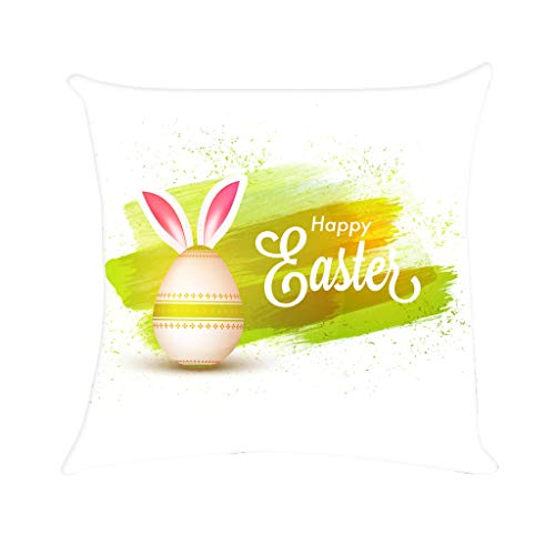 Ostern Kaninchen Druck Kissenbezug,Polyester-Sofa-Auto Kissenbezug,Bunt Ei Süß Home Decor URIBAKY