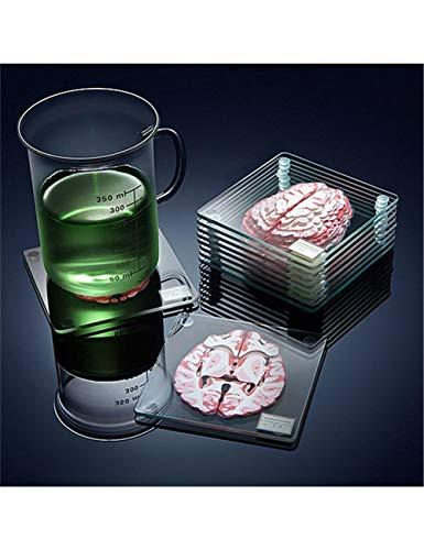 YZHH Platzdeckchen Gehirn Probe Untersetzer Set 3D Scheiben Quadrat Acrylglas Getränke Tisch Coaster Betrunken Wissenschaftler Geschenk - Picknick-tische Eiche