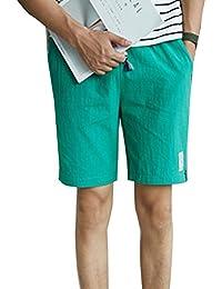 LaoZanA Pantalones Cortos De Lino Hombre Anchos Baggy Casual Cintura  Elástica Delgado Bermudas Shorts Verde 4XL 5d1ea038ae64