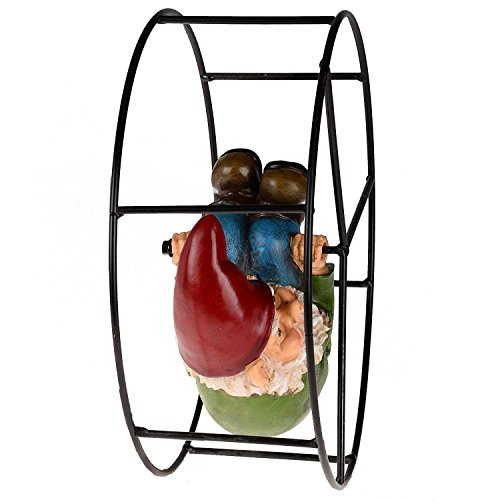 Rolling-Gnome-Decorative-Garden-Ornament-with-Metal-Frame-Diameter-24cm