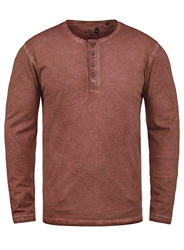 !Solid Timur Herren Longsleeve Langarmshirt mit Grandad- Ausschnitt Aus 100% Baumwolle Slim Fit Meliert, Größe:XXL, Farbe:Fox Brown (6792) (Herren Brown Neue Label)