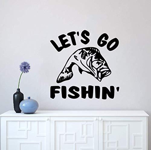 Yirenfeng Let'S Go Angeln Zitat Wandaufkleber Die-Cut Wall Decal Angeln Wand Kunst Wandbild Home Decor Fisch Liebhaber Geschenk Vinyl Wallpaper