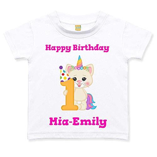 Geburtstagstshirt kurzarm Mädchen 1 Jahr weiß Katze Einhorn Geburtstag T-Shirt, Größe:12 bis 18 Monate