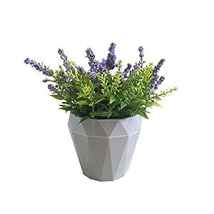 ZT TRADE 1Pc Flor Artificial Lavanda cerámica Maceta bonsái jardín Boda Fiesta Decoración White
