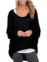 ZIOOER Mujeres Suelto Jersey Suéter Pullover Cárdigan Camiseta Cuello Redondo con Manga Larga Otoño Sudadera Casual Loose Oversize Jerséis T-Shirt tee Tops