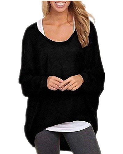 ZIOOER Damen Pulli Langarm T-Shirt Rundhals Ausschnitt Lose Bluse Hemd Pullover Oversize Sweatshirt Oberteil Tops Schwarz XL