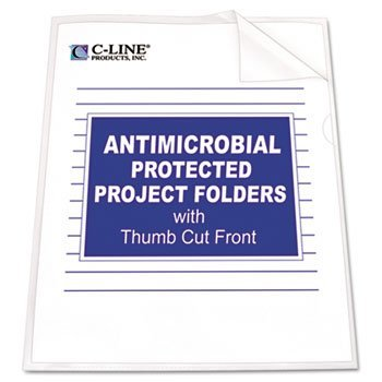 Antimicrobial Project Folders, Jacket, Letter, Polypropylene, Clear, 25/Box by C-Line