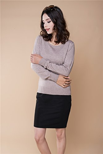 Panreddy Women's Cashmere Wool Blended Long Sleeve Crew Neck Sweater Camel