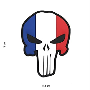 Tactical Attack Punisher France Drapeau Softair Sniper PVC Patch Logo Velcro à Coudre pour Paintball Airsoft Insigne Fun Outdoor
