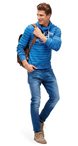 TOM TAILOR Herren Striped Sweatshirt shiny royal
