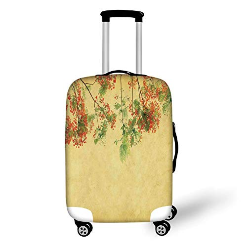 Travel Luggage Cover Suitcase Protector,Vintage,Blossomed Lovely Peacock Flowers on Tree with Vintage Paper Colorful Bliss Enjoy Decorative,Yellow Green Red,for TravelXL 29.9x39.7Inch Bliss Ski