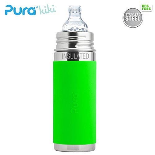 Pura Kiki ISO-Flasche - 250ml - XL Trinklernaufsatz (inkl. Schutzkappe) Pura ISO 250ml XL Trinklernsauger/Grün