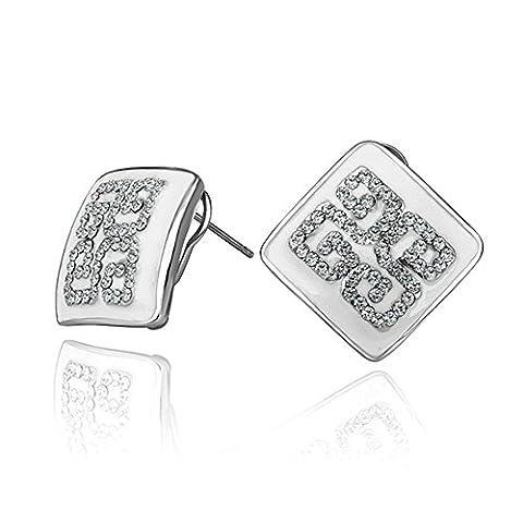 nykkola Bijoux Femmes Plaqué Or Blanc 18K Cristal Swarovski Element carré Boucles d'oreilles clous