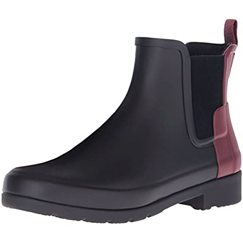 Hunter Women Original Chelsea WFS1017RMABDU, botas de agua color negro burdeos