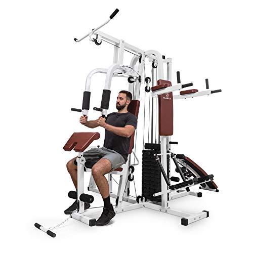 Klarfit Ultimate Gym 9000 Kraftrainings-Station: Diptower, Negativbank, Stepper, Curlstation, Beinpresse, Bruststation & Latzug (mehr als 100 Übungen, für 2 Personen gleichzeitig, max. 150kg) weiß