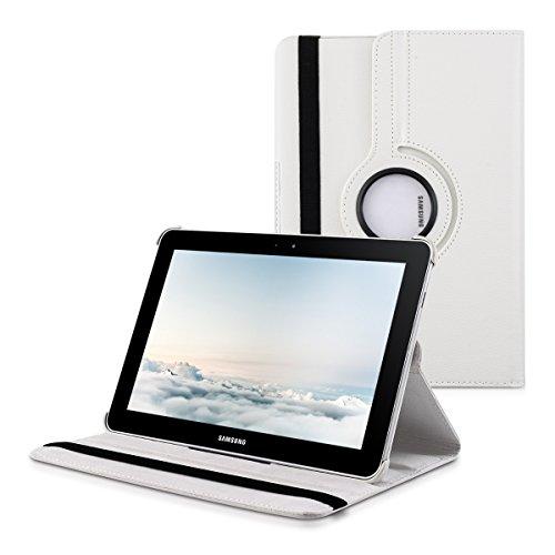 kwmobile Hülle 360° für Samsung Galaxy Tab 10.1/10.1N P7500/P7510/P7501/P7511 Case mit Ständer - Schutzhülle Tablet Tasche mit Standfunktion in Weiß