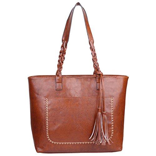 Frauen Handtaschen Mode Quasten Retro-Tasche Schultertasche Lightbrown