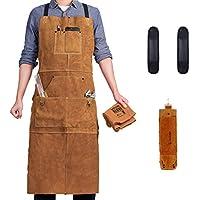 """Delantal de trabajo de soldadura de cuero de LeaSeek – Heavy Duty Tools Shop Delantal con 6 bolsillos y hombro, 24"""" x 42"""" extra largo, marrón – Deluxe Edition"""