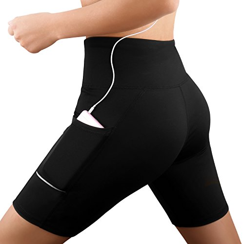 Damen Fitness Damen Shorts, Kurze Yogahose, Schnell trocknende Trainieren Sporthose mit Taschen, Hohe Taille Sport Leggings, Classics Schwarz Stretch Workout Fitness Jogginghose, Zwei Seitentaschen (schwarz, M)