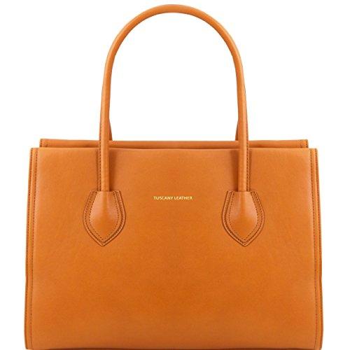 Tuscany Leather TL Bag - Tasche aus weichem Leder mit Tragegurt Cognac Leder Handtaschen Cognac