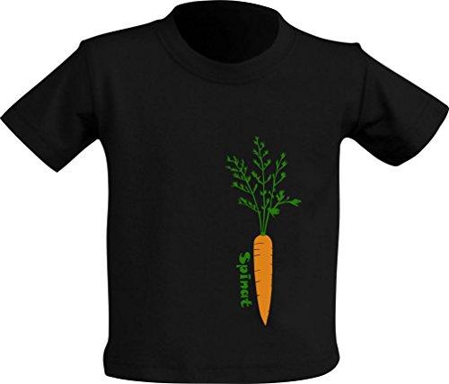 Mamadu Lustiges schwarzes Baby- T- Shirt mit Buntem Motiv und Spruch (Möhre - Spinat), Größe 1 (1-2 Jahre), 100% Baumwolle, Geschenk- Funshirt, Unikate für Jungs und Mädchen (Und C Spinat)