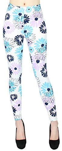 dy_mode Damen Leggings Schmetterling Blumen Muster Treggings Jeggings mit Flower Print - JL096 (JL159-Sunflowers | Gr. 36-42)