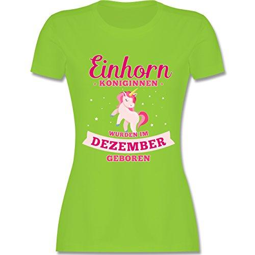 Shirtracer Geburtstag - Einhorn Königinnen Wurden IM Dezember Geboren - Damen T-Shirt Rundhals Hellgrün